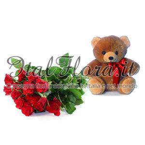 Mazzo di rose rosse con peluche