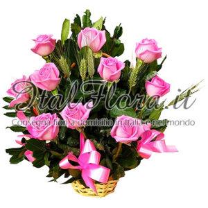 Cesto di rose rosa