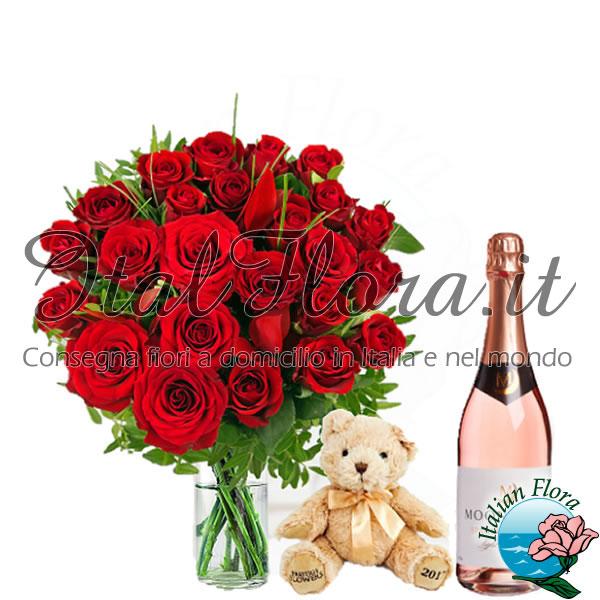 Bouquet di rose rosse con vino bianco e peluche
