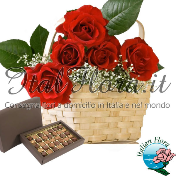Cesto di rose rosse e cioccolatini