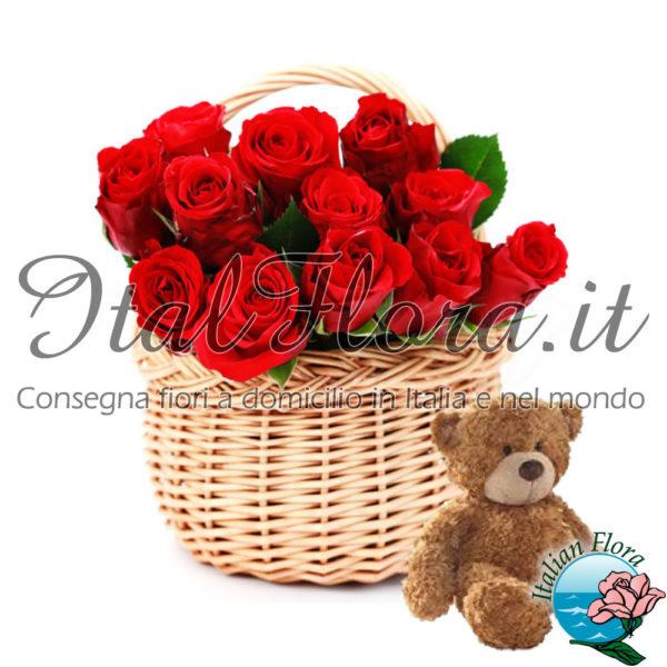 Cesto di rose rosse con peluche
