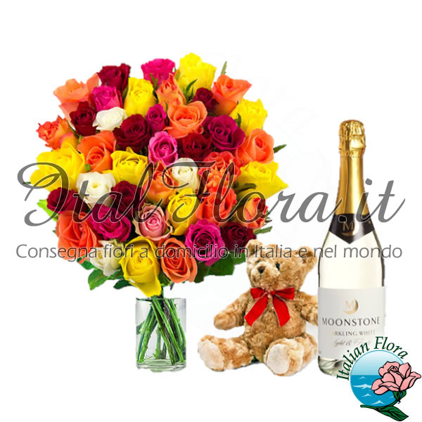 Bouquet di rose colorate con peluche e vino bianco