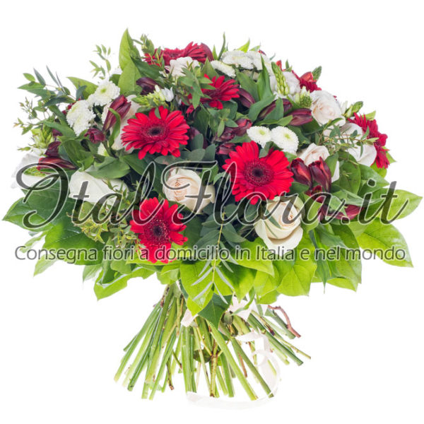 Roselline bianche e gerbere rosse