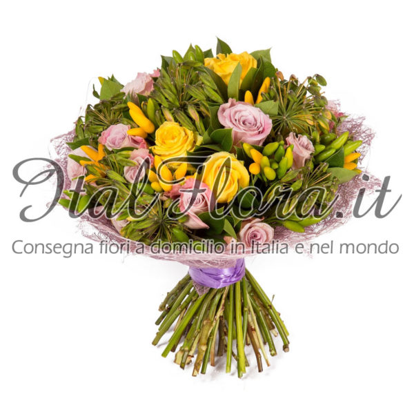 Bouquet di rose rosa e gialle