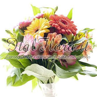Bouquet di gerbere e alstroemeria
